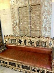 Antique Moorish Sofa, Bench, Craved Wood Leather Sofa Red Beautiful Carved