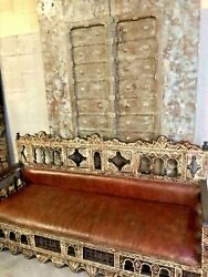 Antique Moorish Sofa Bench Craved Wood Leather Sofa Red Beautiful Carved