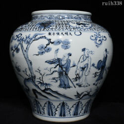 Old Collection China Ming Dynasty Blue And White Character Story Lines Jar