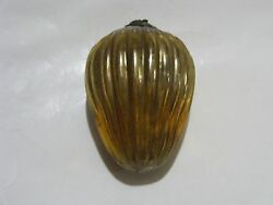 Antique German Christmas 3 Golden Ribbed Kugel Glass Egg Ornament Collectible