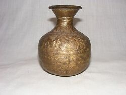 Old Antique Original Islamic / Mughal Engraved Birds And Flowers Temple Use Pot