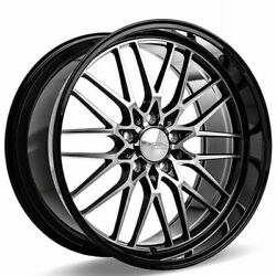 4 20 Ace Alloy Wheels Aff04 Gloss Black With Machined Black Lip Rimsb42