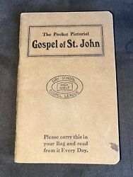 Vintage The Pocket Pictorial Gospel Of St. John Holy Bible Day-school League