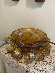 Indiana Glass Harvest Grape Gold Irridescent Punch Bowl 13 Piece Set And Hooks Usa