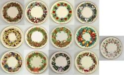 Lenox Colonial Christmas Wreaths Colonies 1981 - 1993 Complete Full Plate Set 13