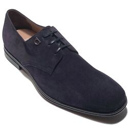 Ferragamo Gancini 9 Ee 42 Mens Navy Blue Suede Leather Dress Shoes Oxford Casual