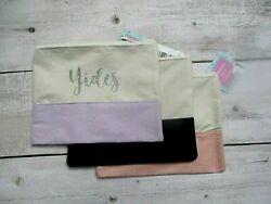 Personalized Cosmetic Case Bag Glitter Custm Name Faux Suede Holiday Makeup Gift $7.99