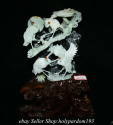 19.2 Chinese Natural Xiu Jade Carving Fengshui Mountain Cranes Statue Sculpture