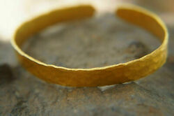 Handmade Solid Stamped 24k 995 Gold Hammered Ancient Rome Artisan Cuff Bracelet