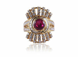 3.14 Tcw Round Baguette Cut Natural Diamonds Ruby Cocktail Ring In 585 14k Gold