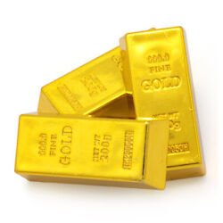 80x Artificial Fake Gold Bar Bullion Paper Weight Dress Party Table Ornament