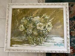 Vintage Original Andldquogreen And White Flowers In Bowlandrdquo Acrylic Painting Framed