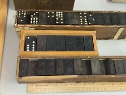 Antique Vintage Dominoes Black Lion Over 150 Wooden Dominoes Look Large And Small