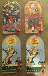 4x Retro Schylling Themed Plastic Pinball Games Space Race, Circus, Roy Rogers