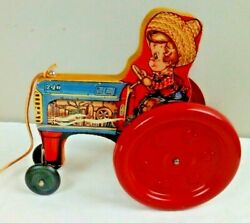 Vintage The Gong Bell Mfg. Co. Tractor 240 Pull Toy Excellent Condition