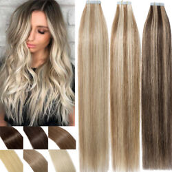 Pu Tape In Remy Indian Human Hair Extensions Skin Weft Full Head Straight Usps