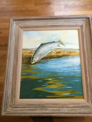 Fly Fishing Leaping Trout Oil Painting Bill Elliott Listed