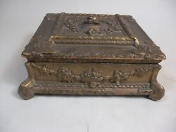 Old Ornate Wood And Composition Gold Gilt Jewlery Box Velvet French Italy Style