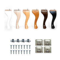 4x Queen Anne Wooden Furniture Legs Beech 7and039and039 - 9and039and039 For Bed Sofa Stool Armchair