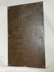 1906 Brunswick Loop The Loop Bowling Ball Return Sign Early Thick Brass Sign