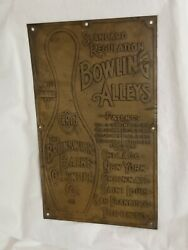 1906 Brunswick Loop The Loop Bowling Ball Return Sign Early Thick Brass Sign 2