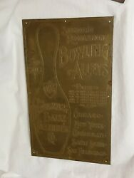 1901 Brunswick Loop The Loop Bowling Ball Return Sign Early Thick Brass Sign