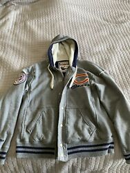 Chicago Bears Mitchell And Ness Heavyweight Zip Up Hoodie Coat Super Bowl Patch