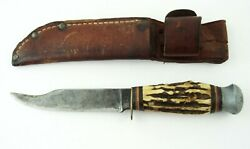 Vintage Solingen York Cutlery 8.5 Stag Handled Fixed Blade Hunting Bowie Knife