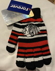 New Chicago Blackhawks Gloves Mittens Ice Hockey Nhl Knit Forever Collectibles