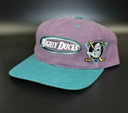 Anaheim Mighty Ducks Twins Enterprise Vintage Oval Spell Out Strapback Cap Hat