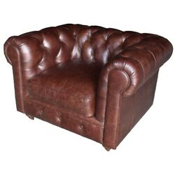 Lea Unlimited Beaufort Vintage Leather Accent Chair In Brown