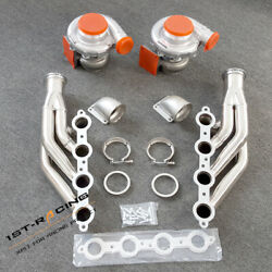 Ls1 Ls6 Lsx 4.8/5.3/5.7/6.0 T4 Ar.80/.81 Water Cold Turbo+exhaust Headers+elbows
