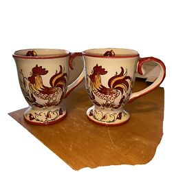 2 Maxcera Rooster Handpainted Large Coffee Cup Mug Country Farm 16 Oz