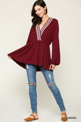 Sml Gigio By Umgee Navy Or Maroon Stretch Knit Babydoll Tunic/sweater/top Bhcs