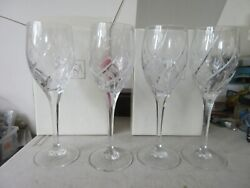 Lot Of 4 Mikasa English Garden Wine Goblet Glasses Lightly Used In Box 9