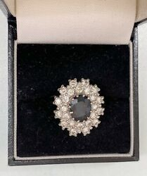 Antique 18ct Gold Sapphire And Diamond Cluster Ring Princess Diana/kate Middleton