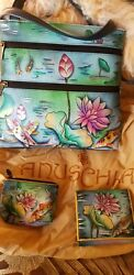Anuschka Hand Painted Leather Handbags,plus A Matching Wallet, Coin Purse .