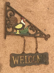 Rooster Chicken Welcome Cast Iron Sign Door Wall Fence Gate House primitive