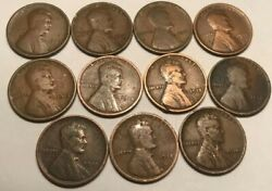 Lincoln Wheat Cents 11 Coins 1909 - 1919 P 1 Each Set Great For Coin Books
