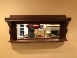 Antique Dining Room Display Shelf And Mirror  Sea Monster Theme