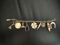 Vintage Estate Heavy 14k Yellow Gold Charm Bracelet With 10 Charms