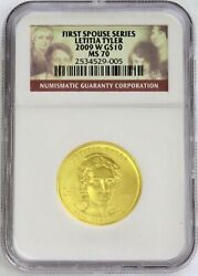 2009 W Gold 10 Letitia Tyler 3,240 Minted Spouse 1/2 Oz Coin Ngc Mint State 70
