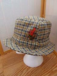 Vintage Donegal Handwoven Pure Wool Gray Gold Black Bucket Hat Ireland 7 1 4 $17.00