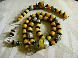 Original Wearable Art Amber And Onyx Necklace Bracelet Earrings Antique Silver