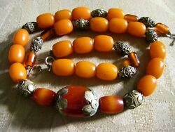 Original Wearable Art Natural Amber Necklace And Bracelet With Antique Silver