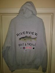 Striped Bass Fishing Riverview Tackle Cape Cod Hoodie Hooded Jacket Size Xxl