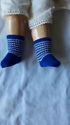 Antique Pattern Blue/white Stripe Socks For Antique French Or German Doll