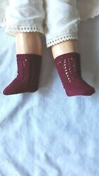 Antique Pattern Burgundy Color Cotton Socks For Antique French German Doll