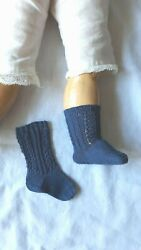 Antique Pattern Socks Fade Navy Blue Color For Antique French German Doll