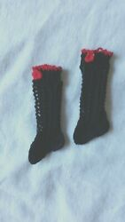 Antique Pattern Black Socks Xs Size For Antique French German Doll